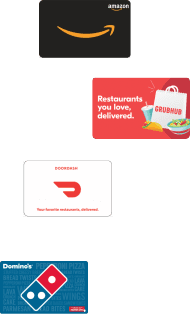 Flying Amazon gift card, Visa Gift Card, Doordash Gift Card, Grubhub Gift Card, Dominos Gift Card